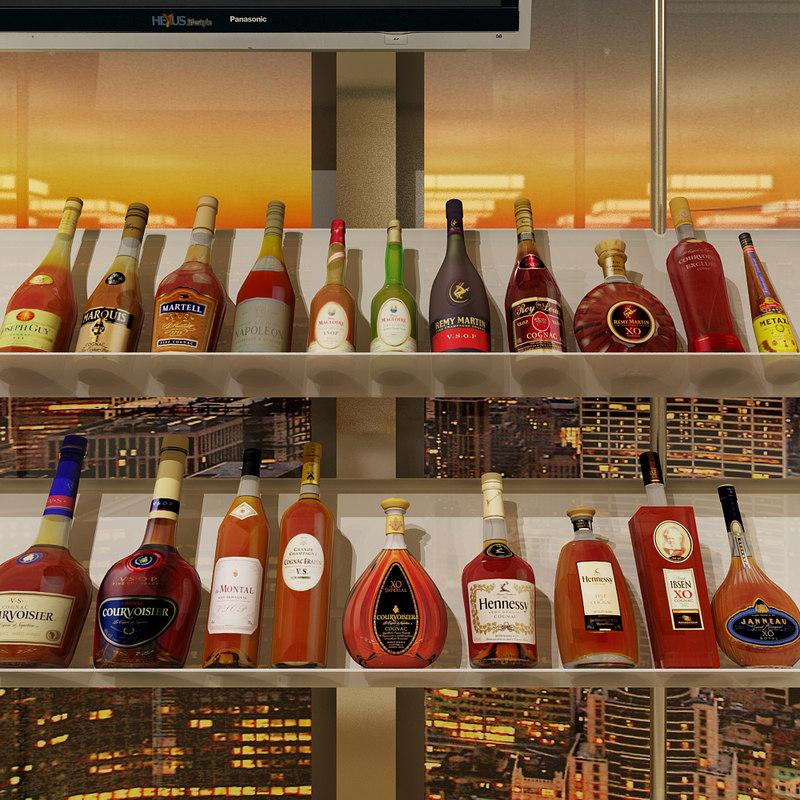 3ds max 20 cognac bottles