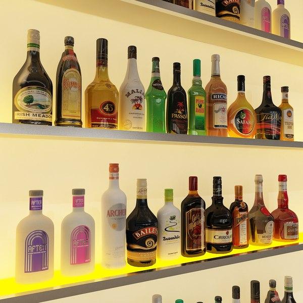 20 liqueur bottles liquor 3d model