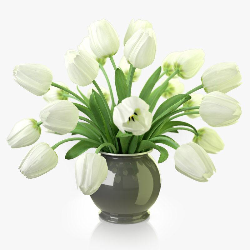 Max Realistic Flowers Tulips White