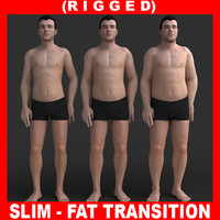 3d model realistic man slim fat