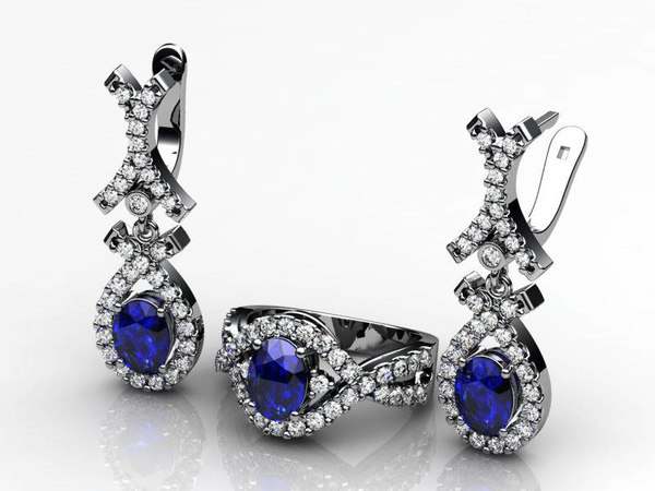 3ds engagement ring earring