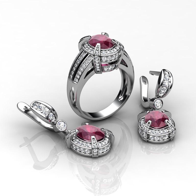engagement ring earring gj1 3ds