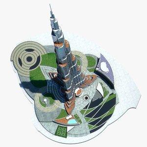 burj khalifa dubai tower 3d max