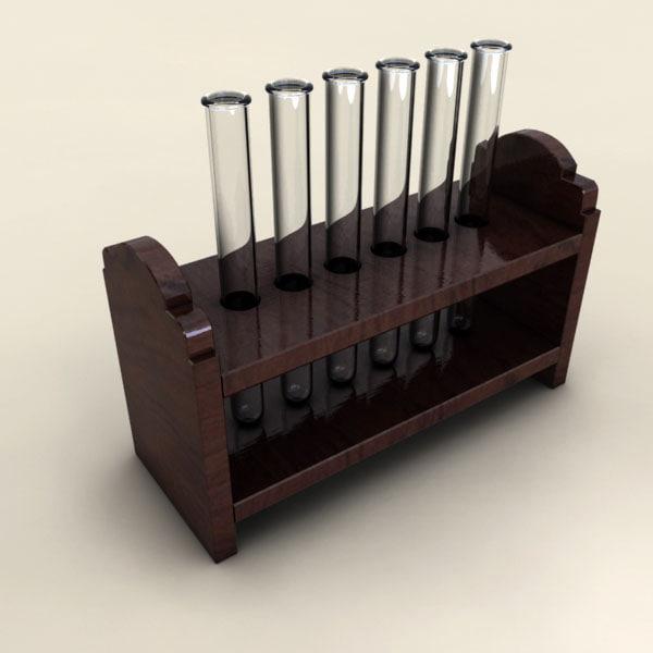 3d model of rack test-tubes