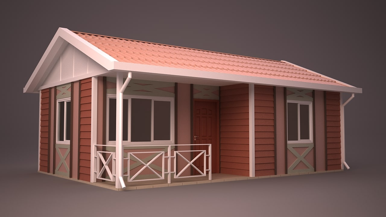 homes facade roof 3ds
