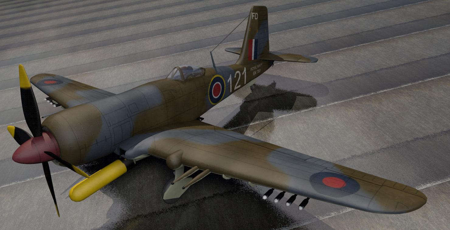 3d model plane blackburn b-37 firebrand