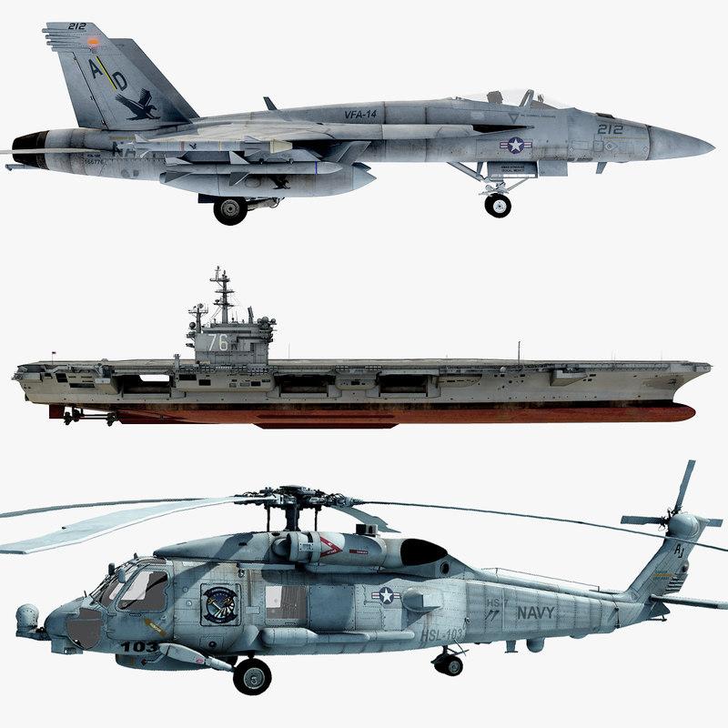 3d fa-18e sh-60b cvn