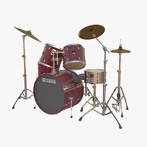 3d model yamaha classic drum set