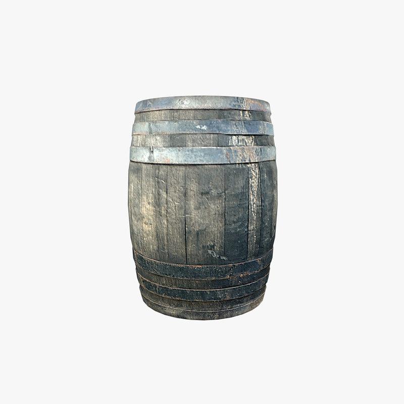 free wooden barrel 3d model