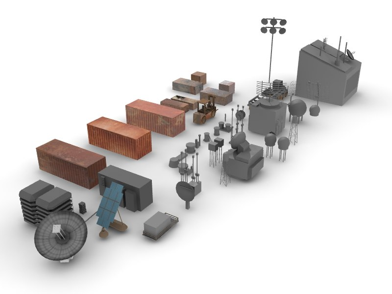 industrial parts 3d obj
