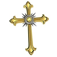 3d 3ds cross pendant gold