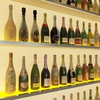20 champagne bottles 3d model