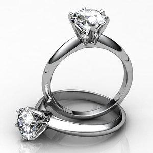 2 engagement rings 3d obj