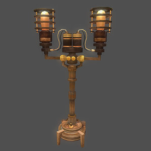 steampunk lamp obj