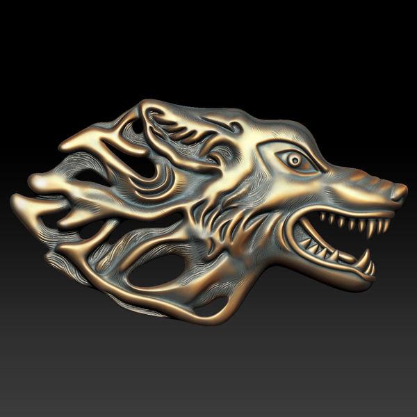 3d western wolf relief