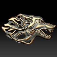 3d western wolf relief
