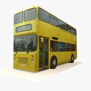 3d x double decker yellow bus