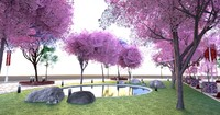3d model park cherry blossom