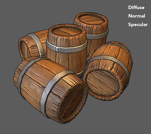 Low Poly Wooden Barrel