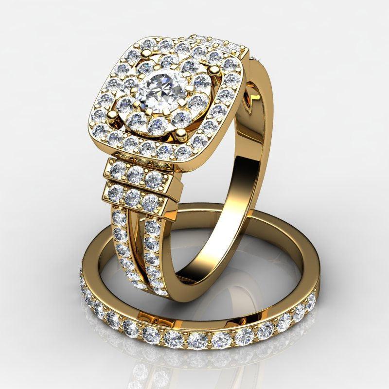 3d model set wedding engagement rings