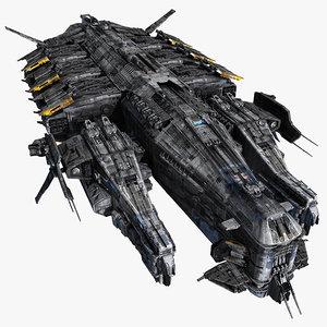 scifi destroyer 3d max