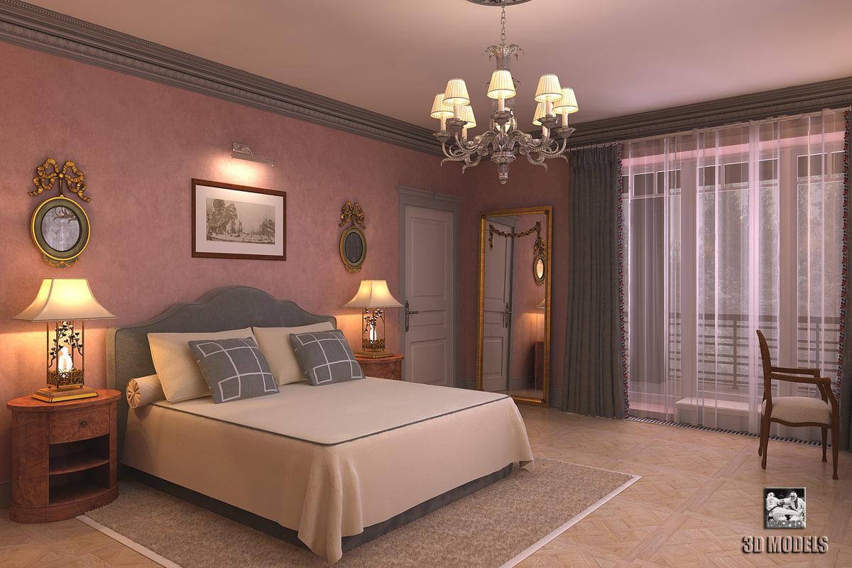 Modern classic bedroom 3d model for Classic modern bedroom ideas