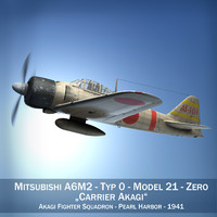 3d mitsubishi a6m2 zero aircraft carrier model