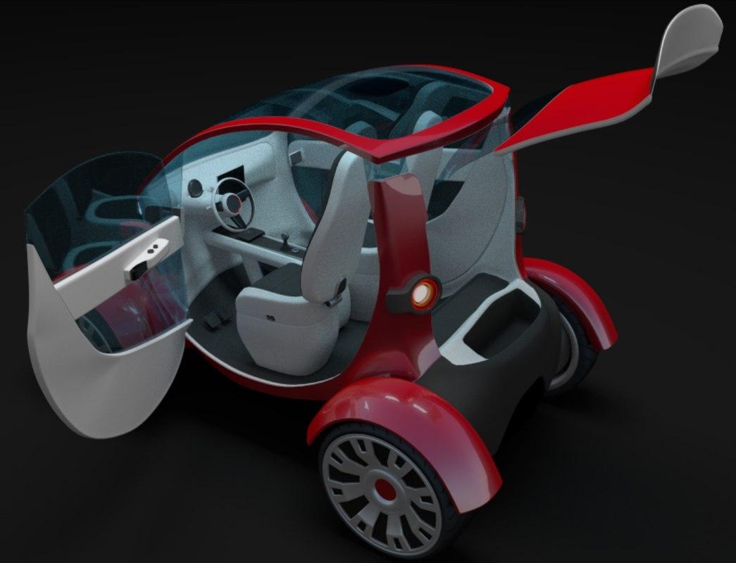 3d interior compact electric concept car