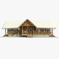 wooden log cabin 3ds