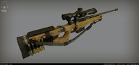 AWM Accuracy International Sniper Rifle Low Poly + High Poly