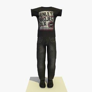 man casual clothes t-shirt 3d model