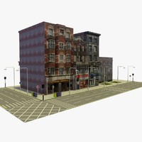 3d city block 1 street model