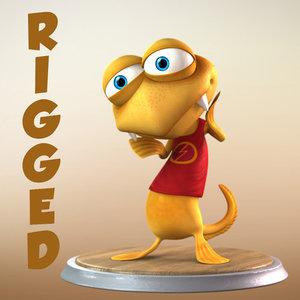 rigged cartoon fish characters ma