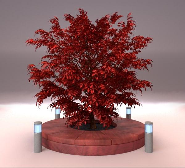 3d model tree form burning bush