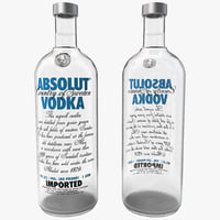 absolut vodka bottle 3d model
