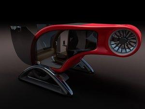 futuristic helicopter 1 obj