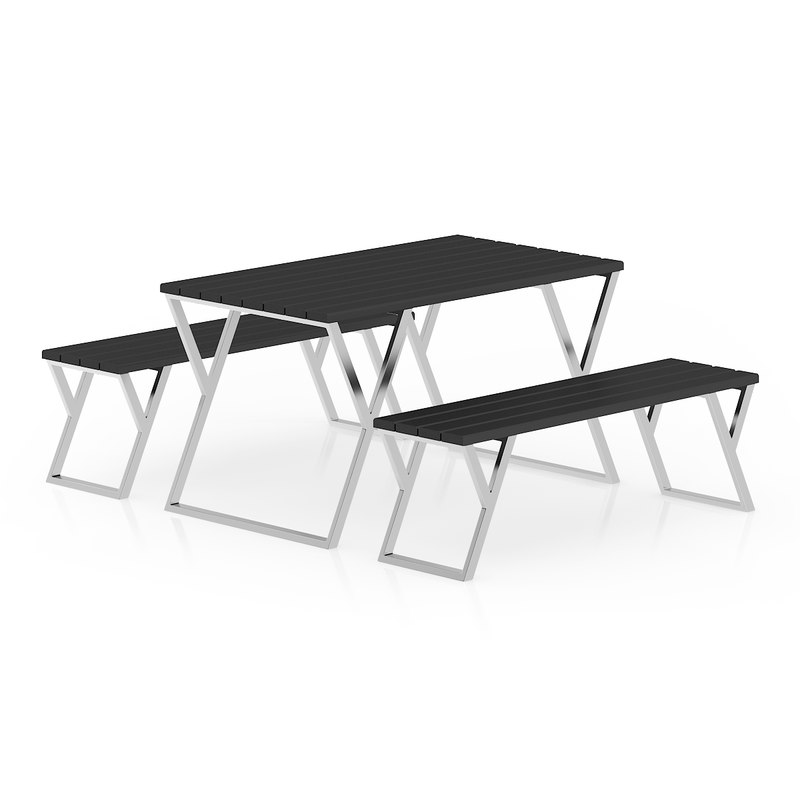 3d model metal table black benches