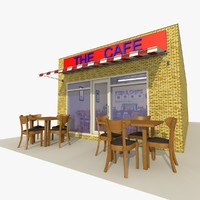 cafe restaurant exterior interior building 3d model