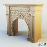 3d model art nouveau fireplace