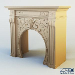 3d model art nouveau fireplace