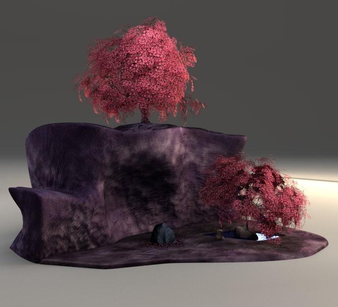 3d model fantasy cherry blossom cliff