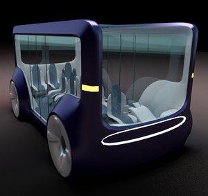 3d model generic concept styled mini bus