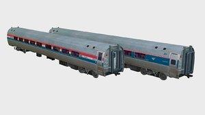 3d amfleet passenger amtrak ii model
