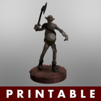obj printable warrior goblin medieval axe