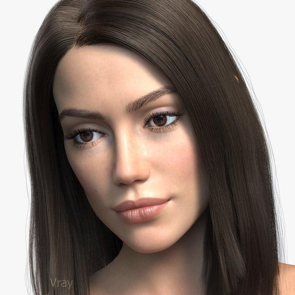 3d woman girl female model
