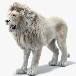 lion 2 fur white 3d max