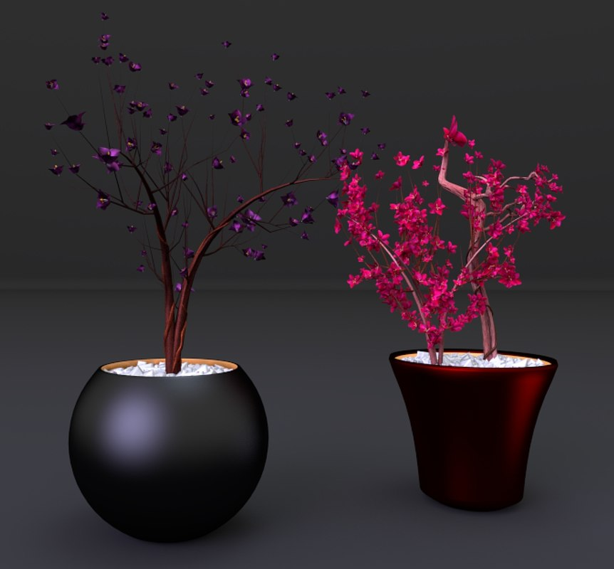 3d centerpiece flowers vases model