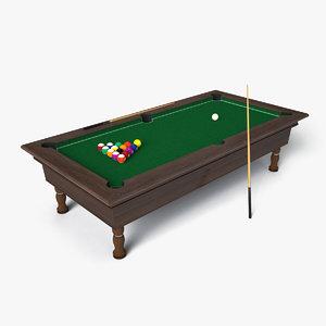 billiard set 3d obj