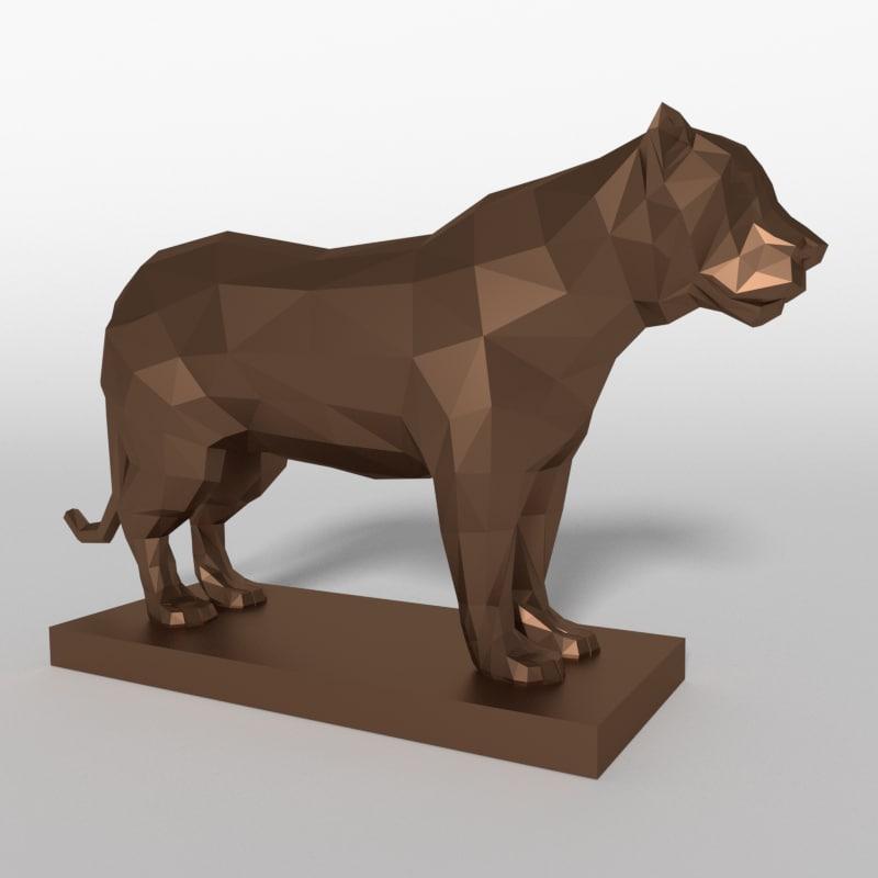 tiger statue 3d model