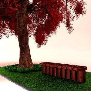 weeping japanese maple tree leaves 3d model